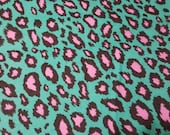 """Flannel Fabric - Cheetah Pink Teal- 33"""" REMNANT - 100% Cotton Flannel"""