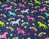 Flannel Fabric - Unicorns and Rainbows - REMNANT - 100% Cotton Flannel