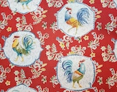 Red Morning Bloom Medallion Rooster - 100% Cotton Fabric - Select Your Size or By The Yard