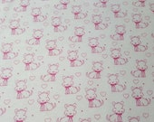 """Flannel Fabric - Sketched Doggie Pink - 24"""" REMNANT - 100% Cotton Flannel"""