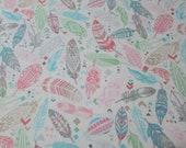 Flannel Fabric - Aztec Feathers Pastel - REMNANT - 100% Cotton Flannel