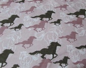Flannel Fabric - Horses Running Sketch Pink - REMNANT - 100% Cotton Flannel