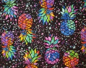 Pineapple Rainbow Galaxy Tropical Pineapples and Stars on Black - 100% Cotton Fabric - Select Your Size or By The Yard
