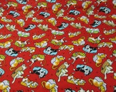 """Flannel Fabric - Red Cats and Dogs - 22"""" REMNANT - 100% Cotton Flannel"""
