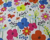 """Flannel Fabric - Fun Floral Flowers and Butterflies  - 30"""" REMNANT - 100% Cotton Flannel"""