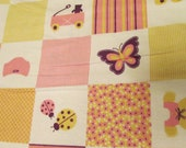"""Flannel Fabric - Baby Girl Patch Pink - 28"""" REMNANT - 100% Cotton Flannel"""