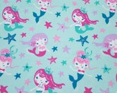 """Flannel Fabric - Flowing Mermaids - 23"""" REMNANT - 100% Cotton Flannel"""