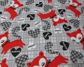 "Flannel Fabric - XOXO Fox - 25"" REMNANT - 100% Cotton Flannel"