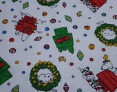 Character Christmas Flannel Fabric - Peanuts Snoopy Christmas - REMNANT (select size) - 100% Cotton Flannel