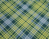 Flannel Fabric - Kate Green Yellow Plaid - REMNANT - 100% Cotton Flannel