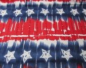 Flannel Fabric - Red White Blue Star Tiedye - REMNANT - 100% Cotton Flannel