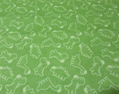 Flannel Fabric - Dino Toss Green - REMNANT - 100% Cotton Flannel