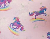 Rainbow Unicorns and Glitter Stars on Pink - 100% Cotton Fabric - Select Your Size or By The Yard