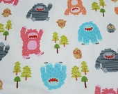 """Flannel Fabric - Bigfoot Boogy Pink - 42"""" REMNANT - 100% Cotton Flannel"""