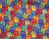 Tiedye Packed Cats - 100% Cotton Fabric - Select Your Size or By The Yard
