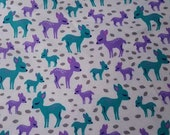 Flannel Fabric - Baby Deer - REMNANT - 100% Cotton Flannel