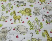 Flannel Fabric - Zoo Sketch on White - REMNANT - 100% Cotton Flannel