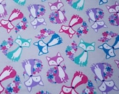 Flannel Fabric - Floral Tail Fox - REMNANT - 100% Cotton Flannel