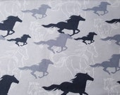 """Flannel Fabric - Horses Running Sketch Gray - 21"""" REMNANT - 100% Cotton Flannel"""