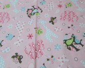 """Flannel Fabric - Tossed Animals on Pink - 33"""" REMNANT - 100% Cotton Flannel"""