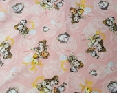 """Character Flannel Fabric - Beauty and the Beast - 23"""" REMNANT - 100% Cotton Flannel"""
