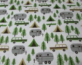 Flannel Fabric - Camping Trip on White - REMNANT - 100% Cotton Flannel