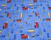 """Flannel Fabric - Choo Train Royal - 33"""" REMNANT - 100% Cotton Flannel"""