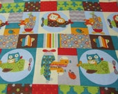 """Flannel Fabric - Baby Animals Plane Patch - 28"""" REMNANT - 100% Cotton Flannel"""