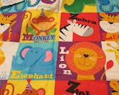 """Flannel Fabric - Animal Squares - 31"""" REMNANT - 100% Cotton Flannel"""