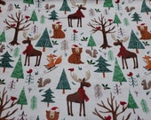"""Christmas Flannel Fabric - Forrest Christmas Animals - 22"""" REMNANT - 100% Cotton Flannel"""