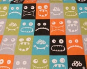 """Flannel Fabric - Monster Blocks - 19"""" REMNANT - 100% Cotton Flannel"""