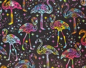Midnight Tropical Rainbow Galaxy Flamingos and Stars on Black - 100% Cotton Fabric - Select Your Size or By The Yard