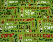 """Flannel Fabric - Lets Camp Words - 29"""" REMNANT - 100% Cotton Flannel"""