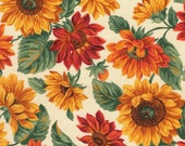 Cotton Fabric - Down On The Farm, Sunflowers Floral on Beige Quilting Fabric - Select Your Size or By The Yard - 100% Cotton Fabric
