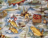 The Reel-In by Alexander Henry Fishing Theme - 100% Cotton Fabric - Select Your Size or By The Yard