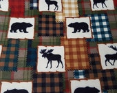 Flannel Fabric - Bear Lake Patch - REMNANT - 100% Cotton Flannel