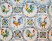 Blue Morning Bloom Medallion Rooster - 100% Cotton Fabric - Select Your Size or By The Yard