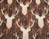 Flannel Fabric - Stag Head on Woodgrain - REMNANT - 100% Cotton Flannel
