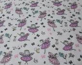 "Flannel Fabric - Fairy Princess - 19"" REMNANT - 100% Cotton Flannel"