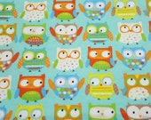 "Flannel Fabric - Adorable Owls - 33"" REMNANT - 100% Cotton Flannel"