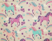 Unicorns and Rainbows - 100% Cotton Fabric - Select Your Size or By The Yard