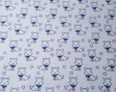 """Flannel Fabric - Sketched Doggie Blue - 20"""" REMNANT - 100% Cotton Flannel"""