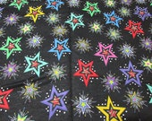 "Flannel Fabric - Bright Stars - 28"" REMNANT - 100% Cotton Flannel"