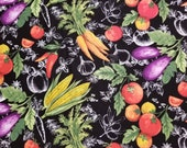 Market Fresh Vegetables On Black - 100% Cotton Fabric - Select Your Size or By The Yard