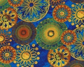 Cotton Fabric - Old Farmer's Almanac, Medallions Gold on Blue Quilting Fabric - Select Your Size or By The Yard - 100% Cotton Fabric