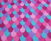 """Flannel Fabric - Mermaid Scales Pink - 22"""" REMNANT - 100% Cotton Flannel"""
