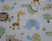 """Flannel Fabric - New Baby Zoo Animals - 24"""" REMNANT - 100% Cotton Flannel"""