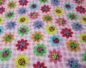 """Flannel Fabric - Ladybug Daisies - 23"""" REMNANT - 100% Cotton Flannel"""