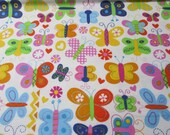 """Flannel Fabric - Girlie Butterflies - 30"""" REMNANT - 100% Cotton Flannel"""