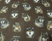 Flannel Fabric - Lone Wolves on Brown - REMNANT - 100% Cotton Flannel